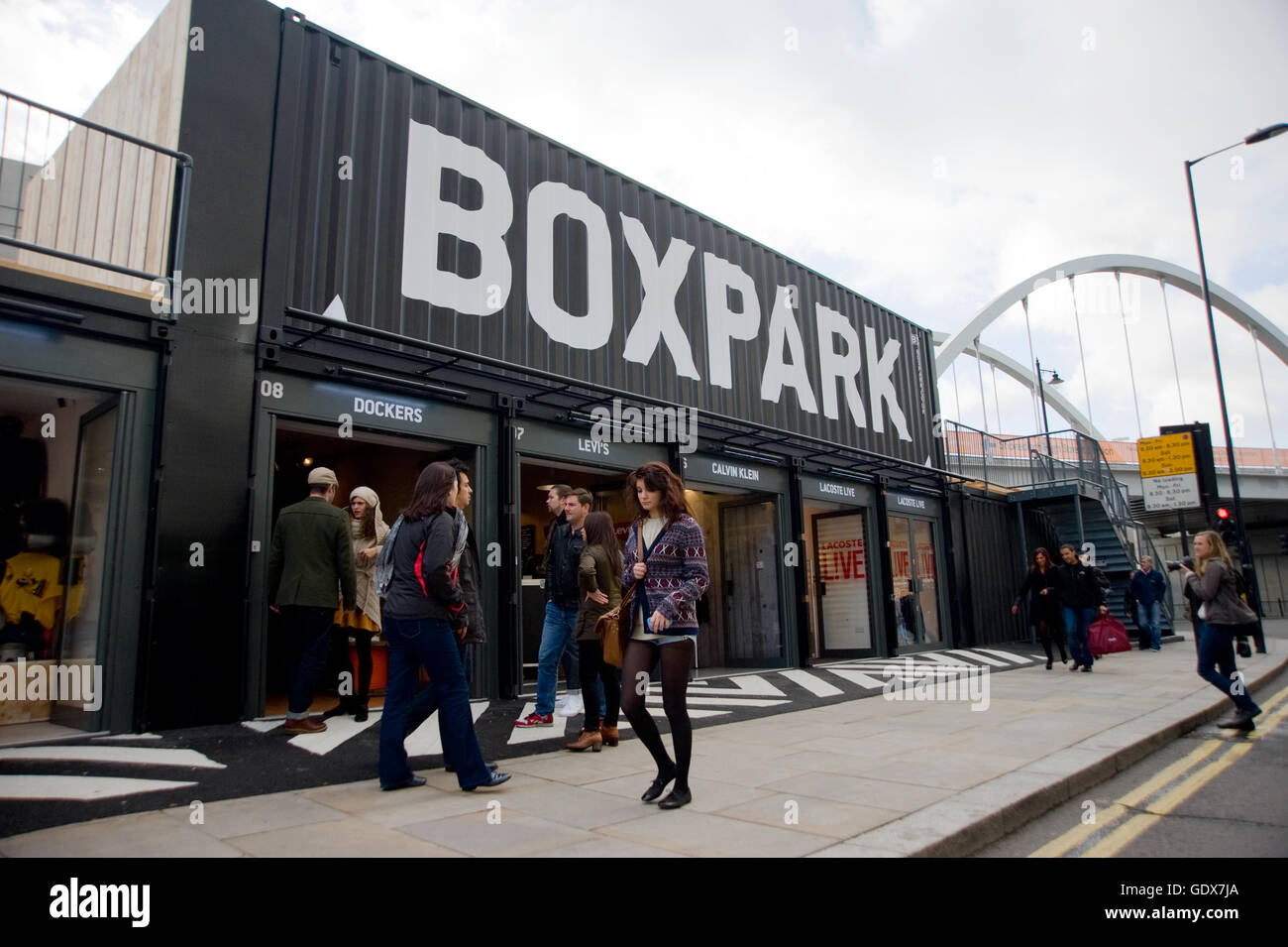 Box Park Shoreditch. is a  temporary Pop-up retail space with a lease of five years and is the brainchild of Roger - Stock Image