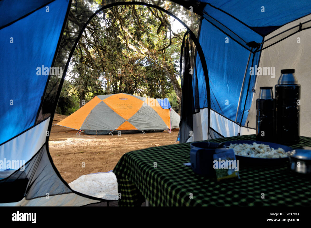 Inside mess tent during the afternoon tea time at Big Tree Camp (or Forest Camp), Mount Kilimanjaro National Park, - Stock Image