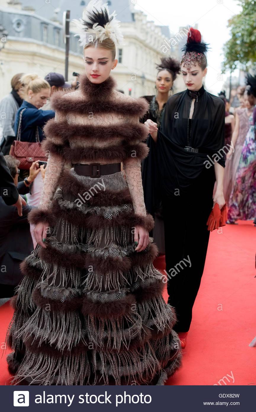 Haute Couture Models  for Jean Paul Gaultier Fashion show on Rue Saint Martin, Paris. - Stock Image
