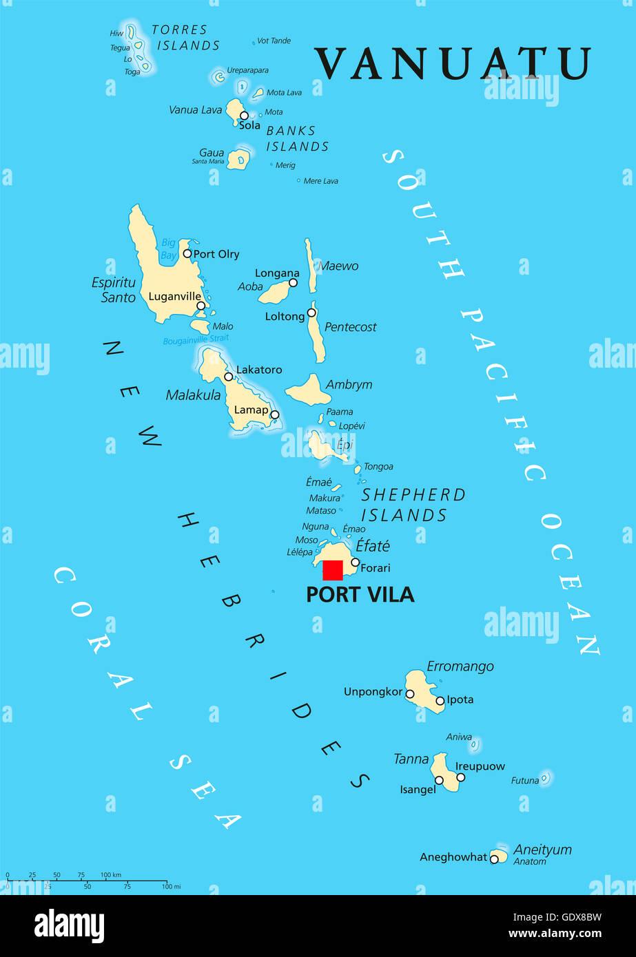 Vanuatu political map with capital Port Vila. Republic and island ...