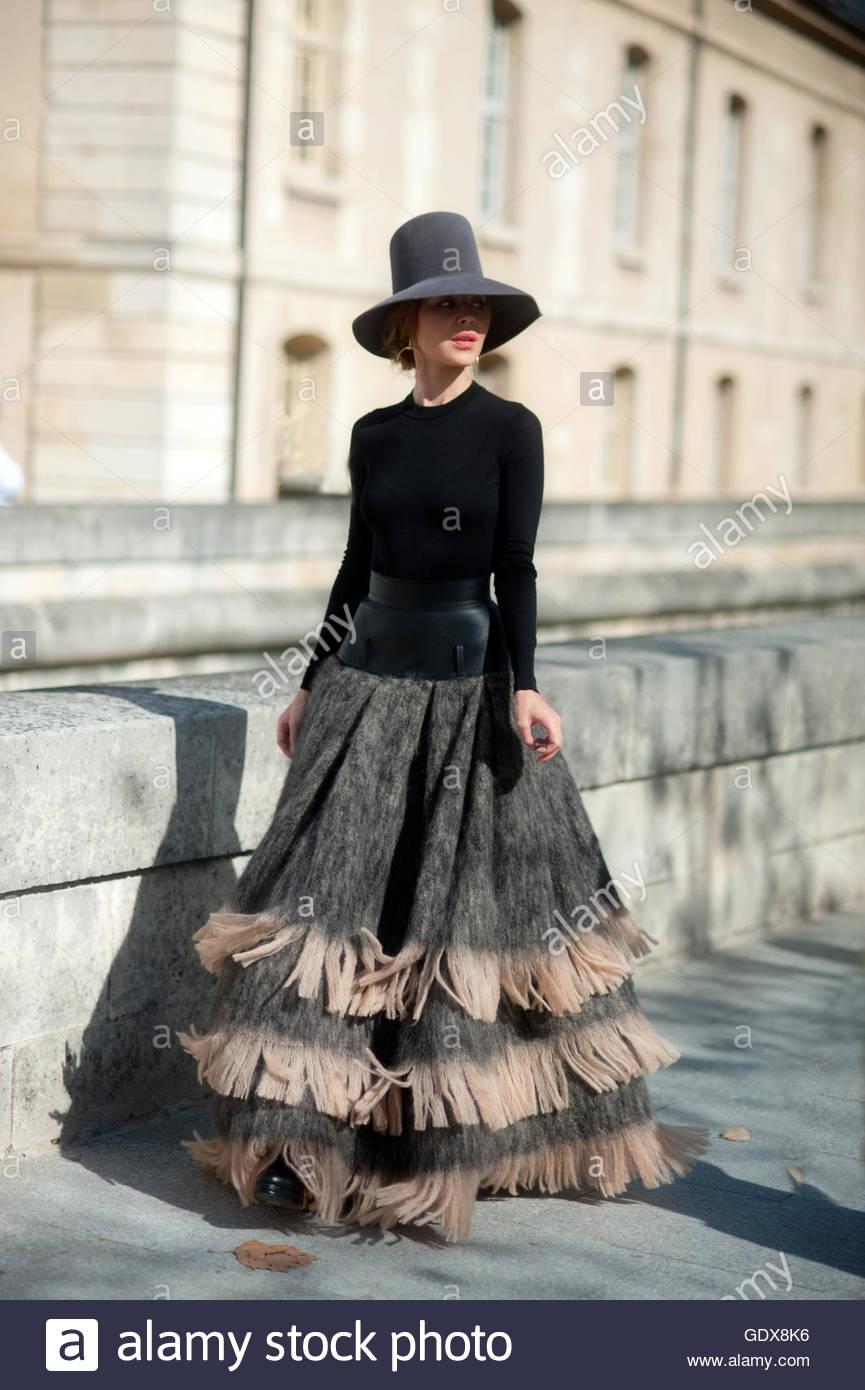 Ulyana Sergeenko arrival for Dior Haute Couture, Paris France - Stock Image