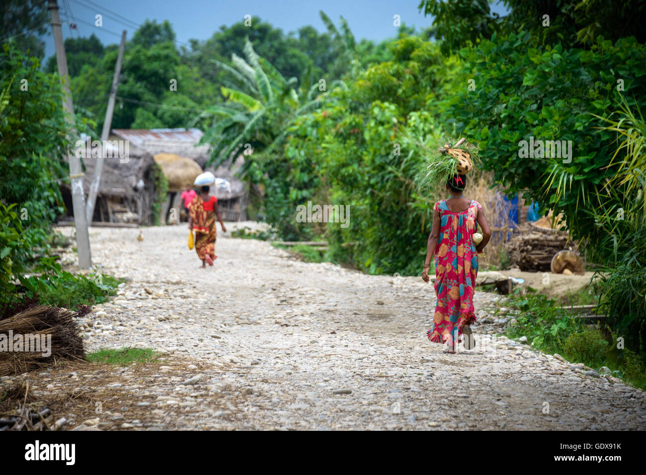 Tharu women in a small village in the Dang valley, Terai, Nepal Stock Photo