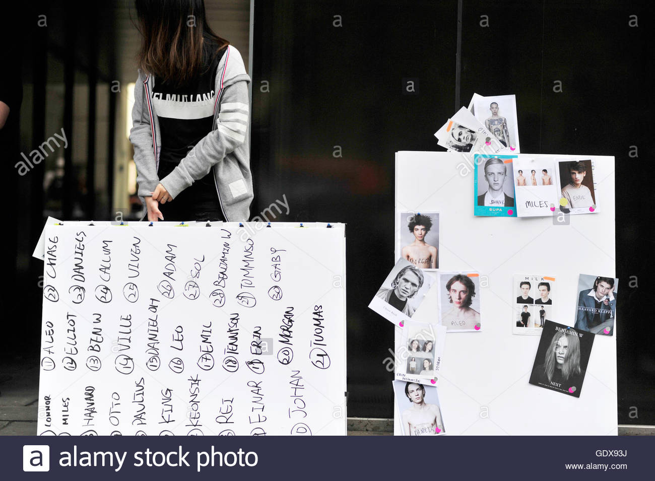 Models Head-shots on a fashion board at 180 Strand, London, Fashion Venue for LCM. - Stock Image
