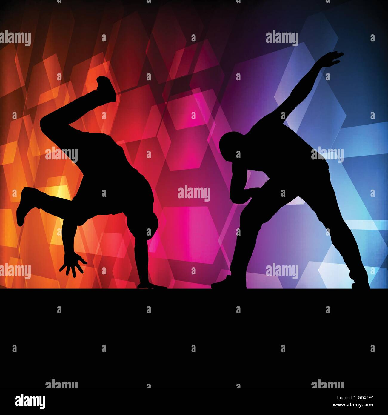 Boy Dance Silhouette Vector Background Concept For Poster