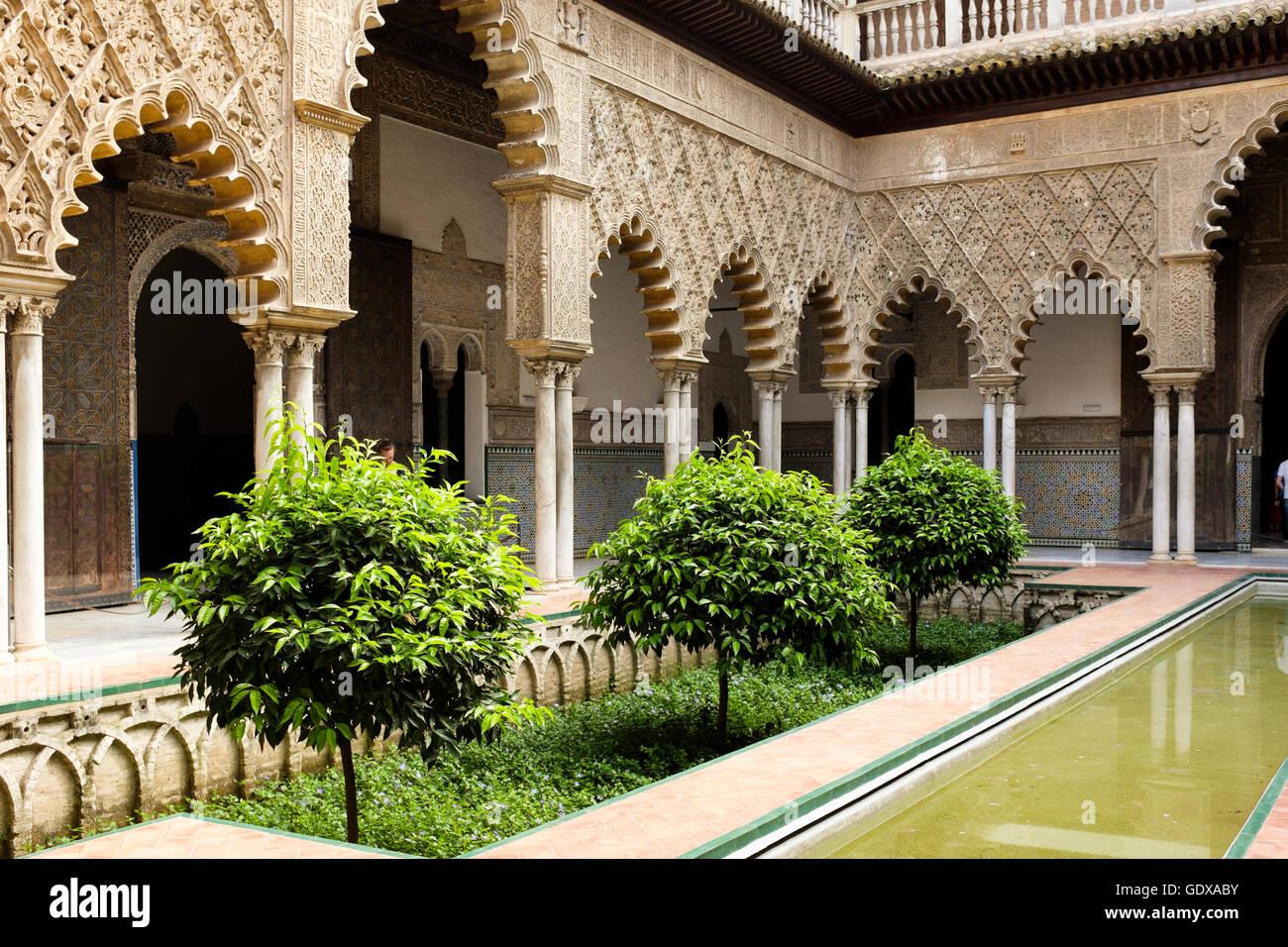 Patio De Las Doncellas In The Real Alcazar Seville Spain Stock Photo Alamy