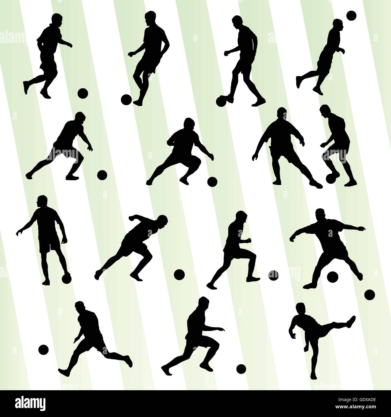 Soccer player silhouette vector background set for poster - Stock Image