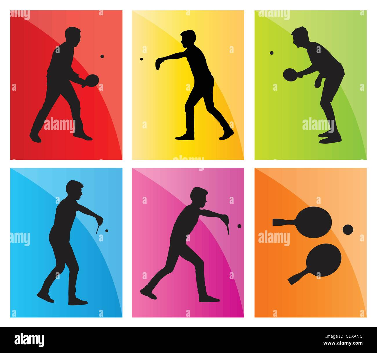 Table tennis player silhouette ping pong set vector background for poster  sc 1 st  Alamy & Table tennis player silhouette ping pong set vector background for ...