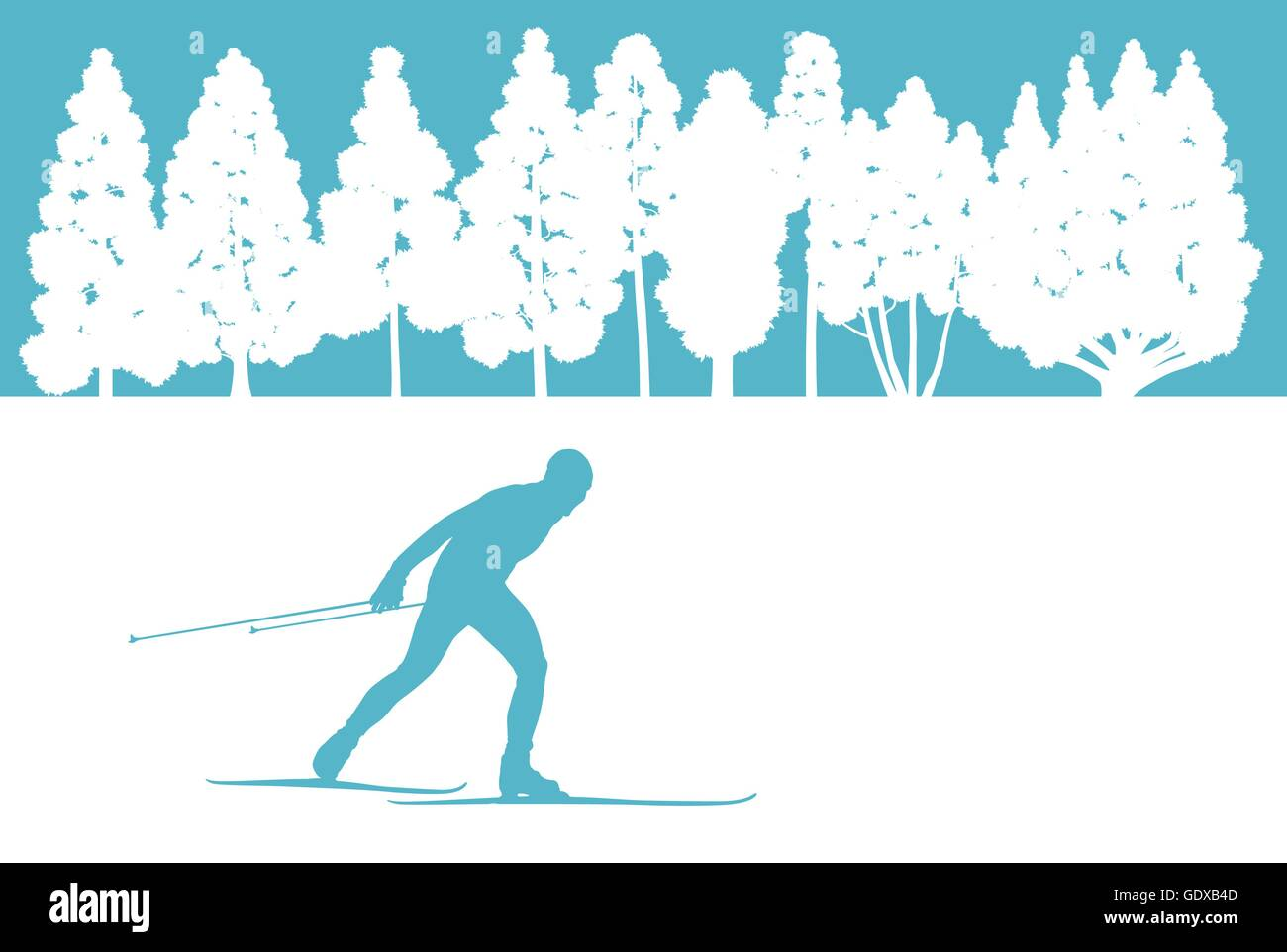 Skier in winter forest vector background abstract concept for poster - Stock Vector