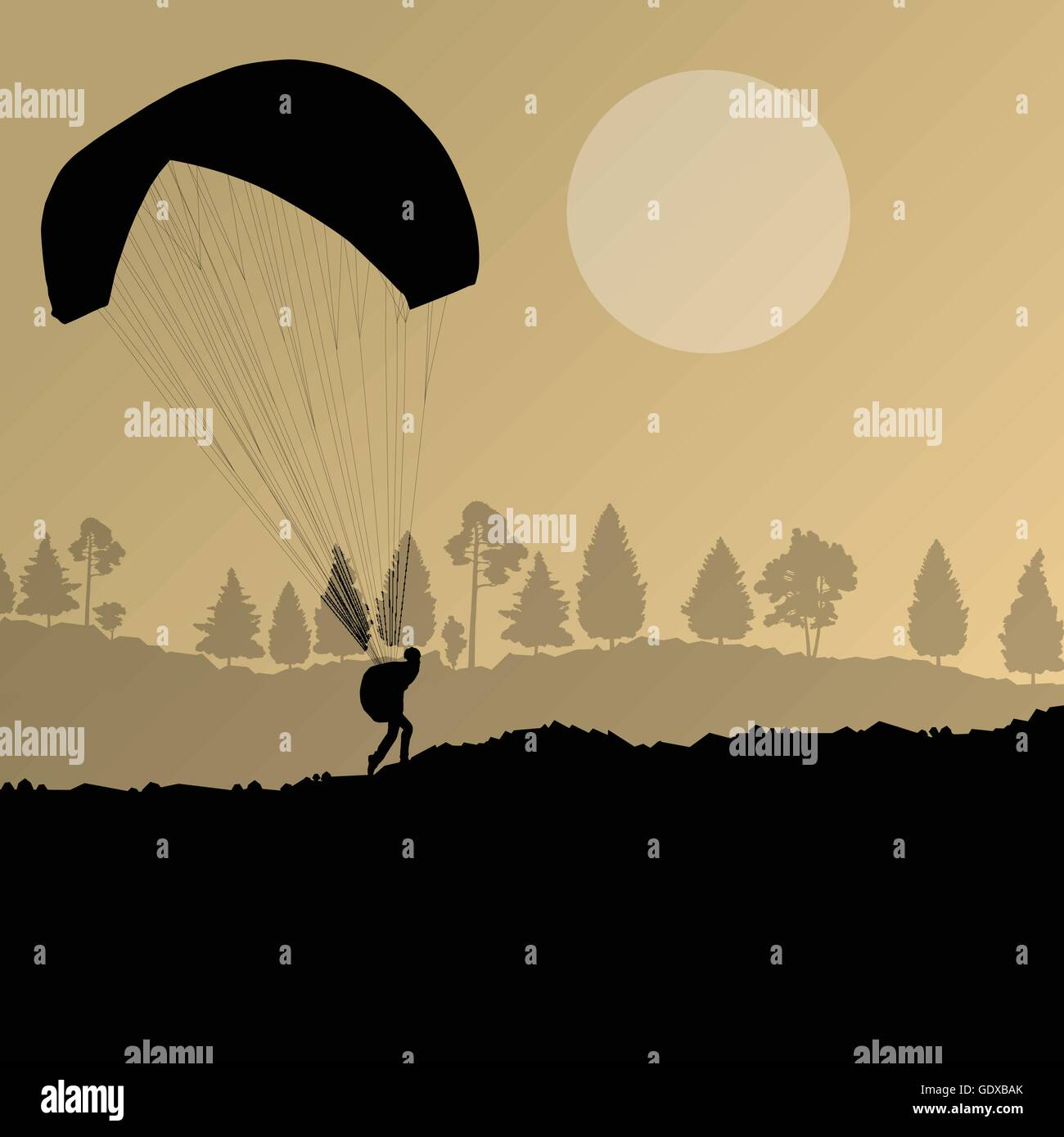 Paragliding vector background landscape concept vector for poster Stock Vector