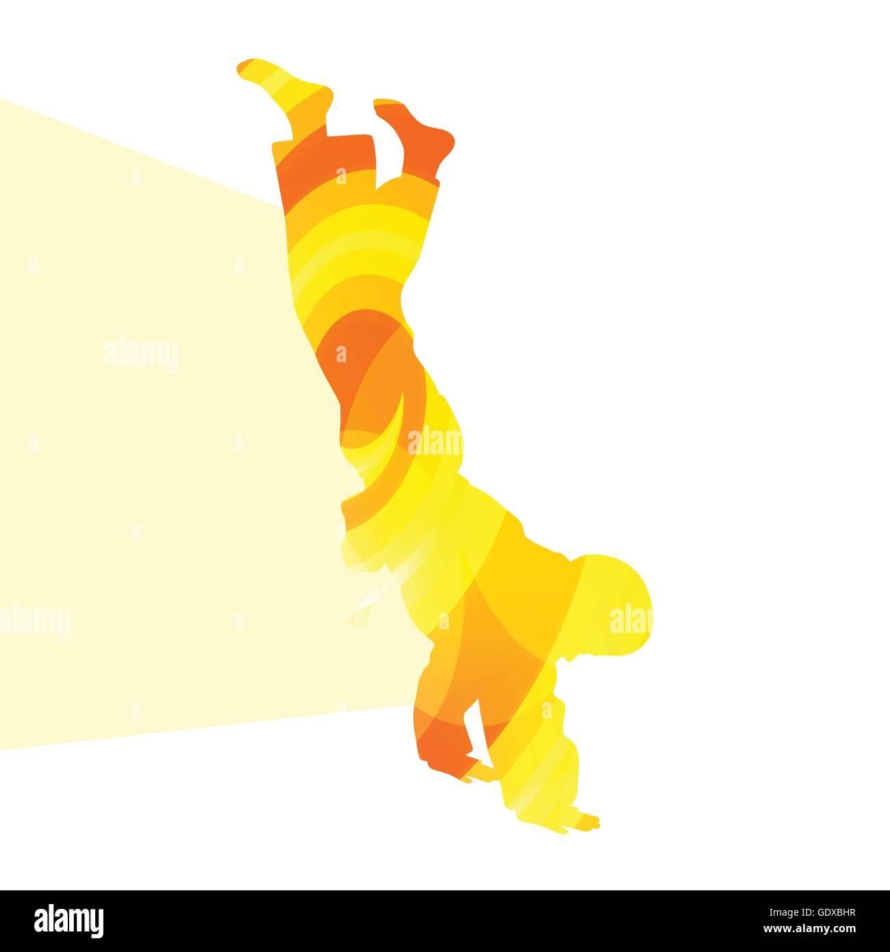 Judo abstract man silhouette illustration vector background colorful concept made of transparent curved shapes - Stock Image