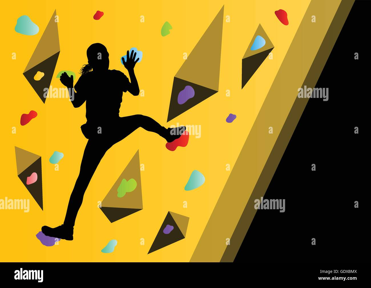 Children rock climber sport athletes climbing wall in abstract Stock ...