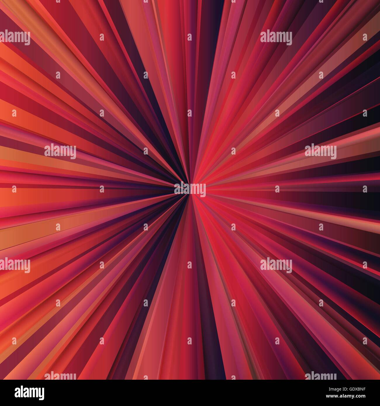 Red sunburst vector background with dark edges for poster Stock Vector