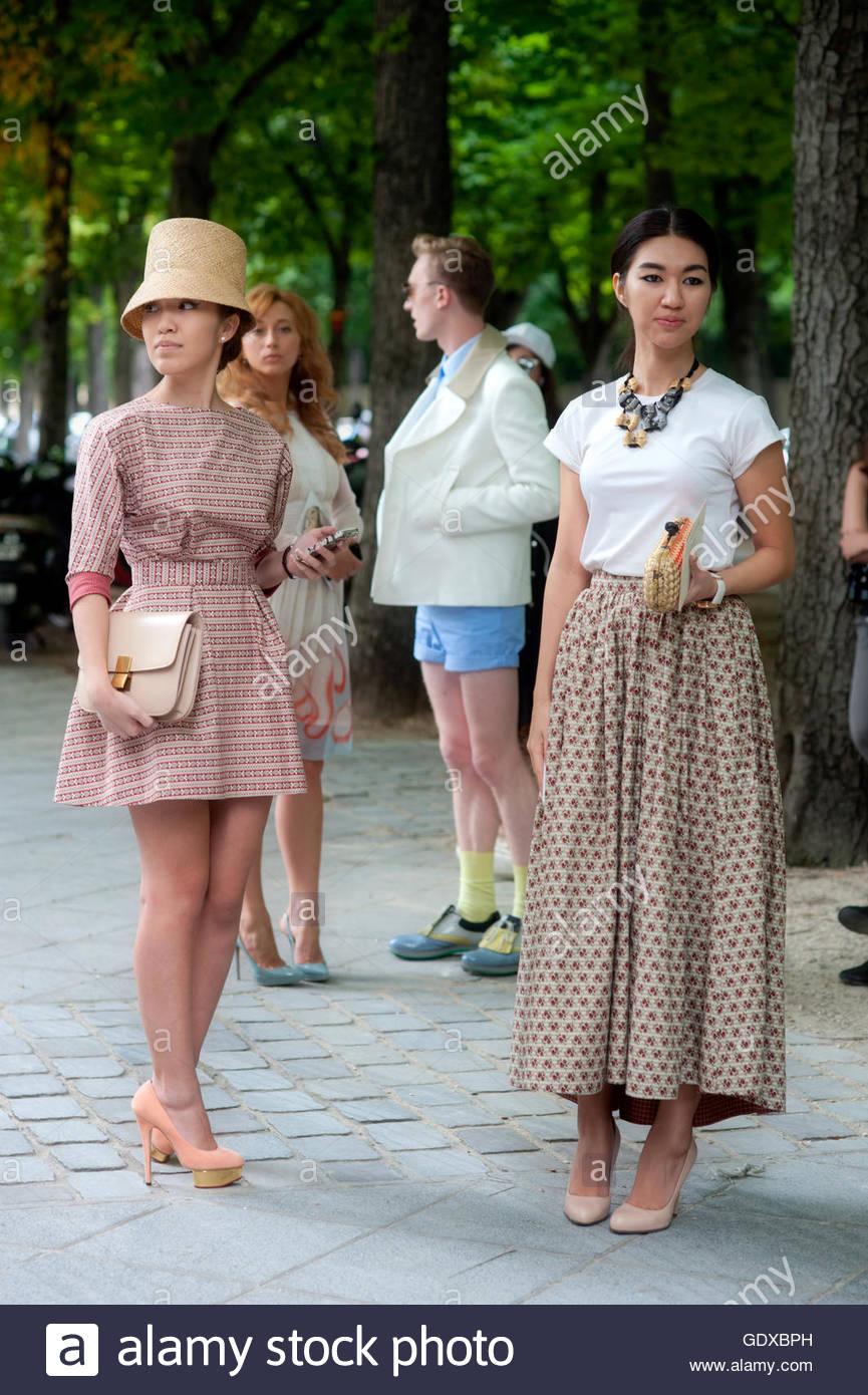 Haute Couture  on the Champs-Élysées Paris during Haute Couture Fashion Week. - Stock Image
