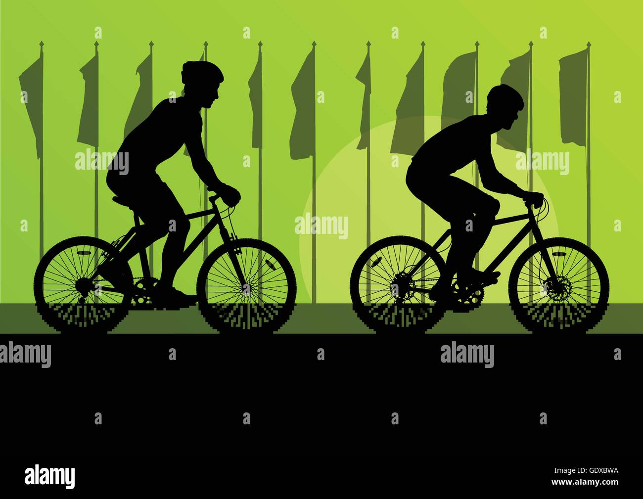 Sport road bike riders and bicycles detailed silhouettes in