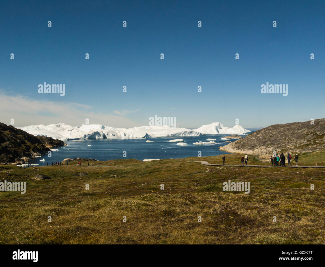 Ilulissat icefjord fed by Sermeq Kujalleq glacier Ilulissat is a town in Qaasuitsup municipality in western Greenland - Stock Image