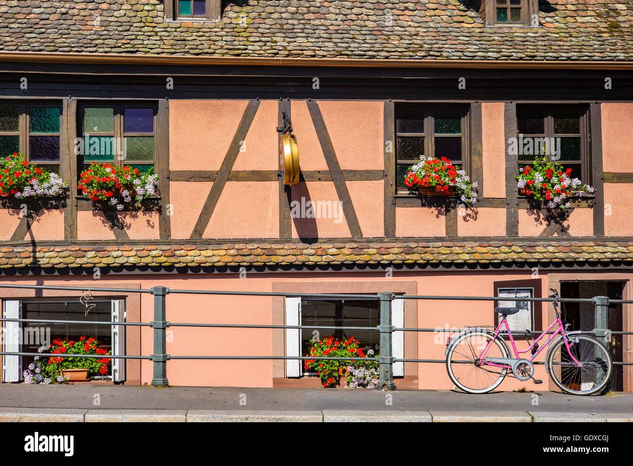 Half-timbered house, La Petite France, Strasbourg, Alsace, France - Stock Image