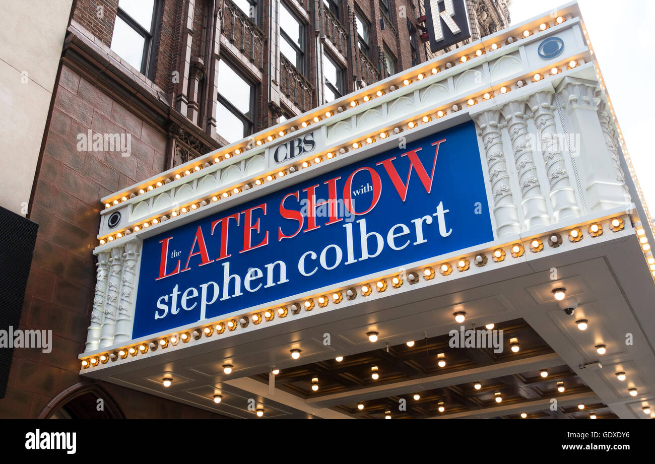 CBS The Late Show with Stephen Colbert at the Ed Sullivan Theatre on Broadway in New York City - Stock Image