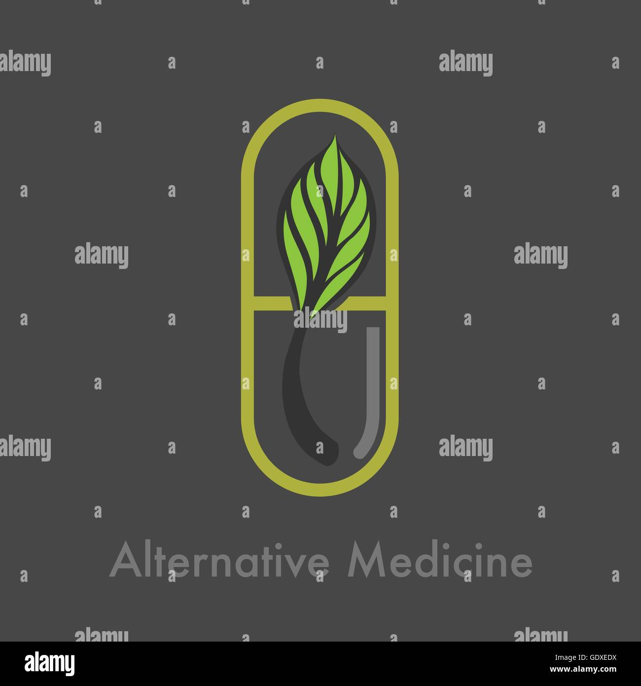 alternative medicine logo vector - Stock Image