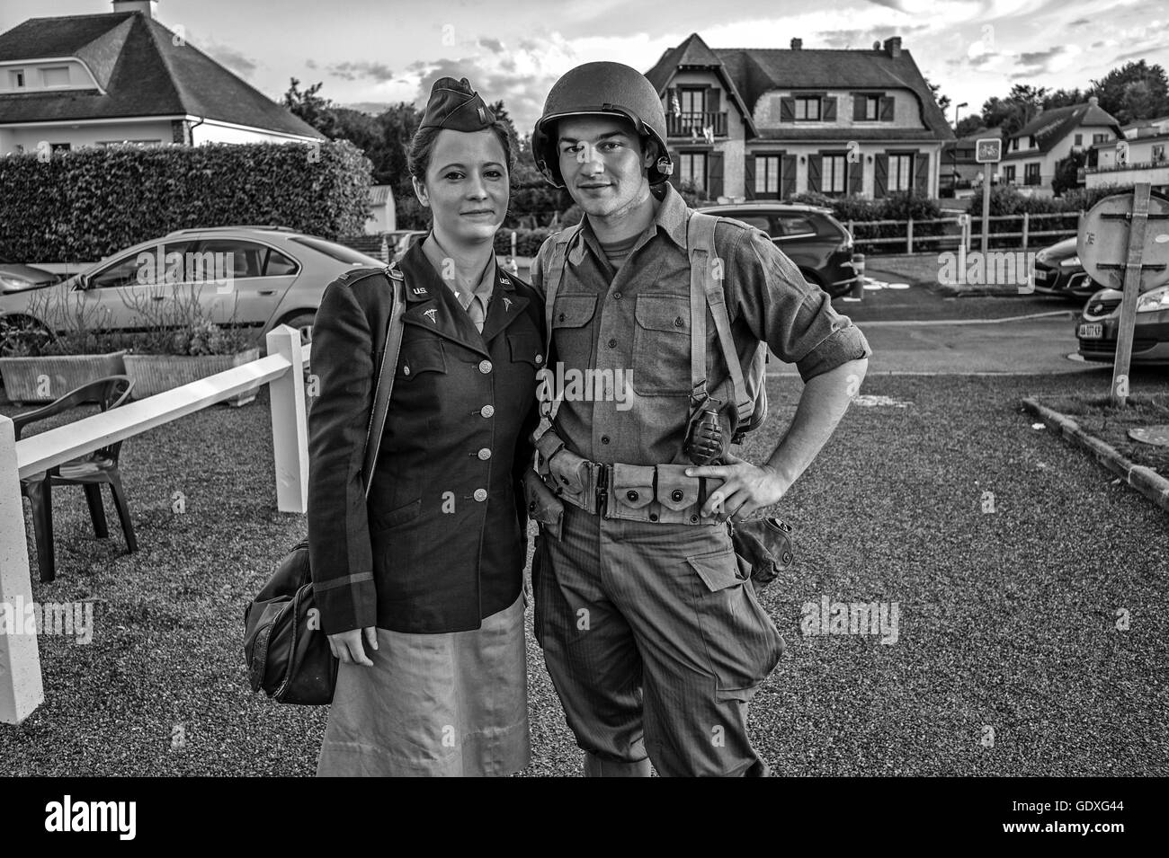 Man and woman pose in soldier and nurse costume in France, 2014 - Stock Image