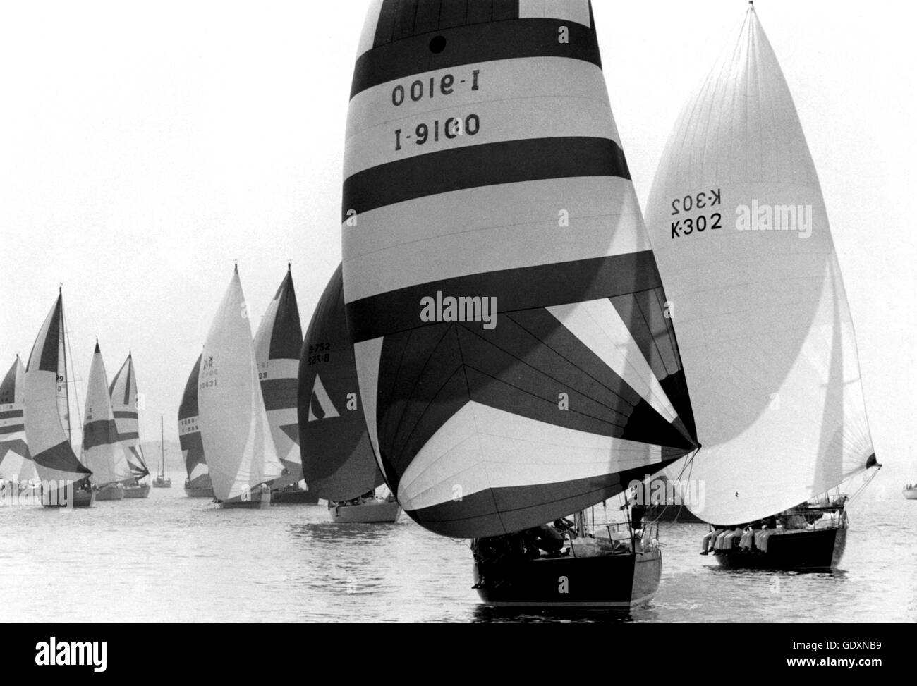 AJAXNETPHOTO. 1981. SOLENT, ENGLAND. - ADMIRAL'S CUP - FLEET JOSTLE IN LIGHT AIRS DURING AN INSHORE RACE. PHOTO:JONATHAN - Stock Image