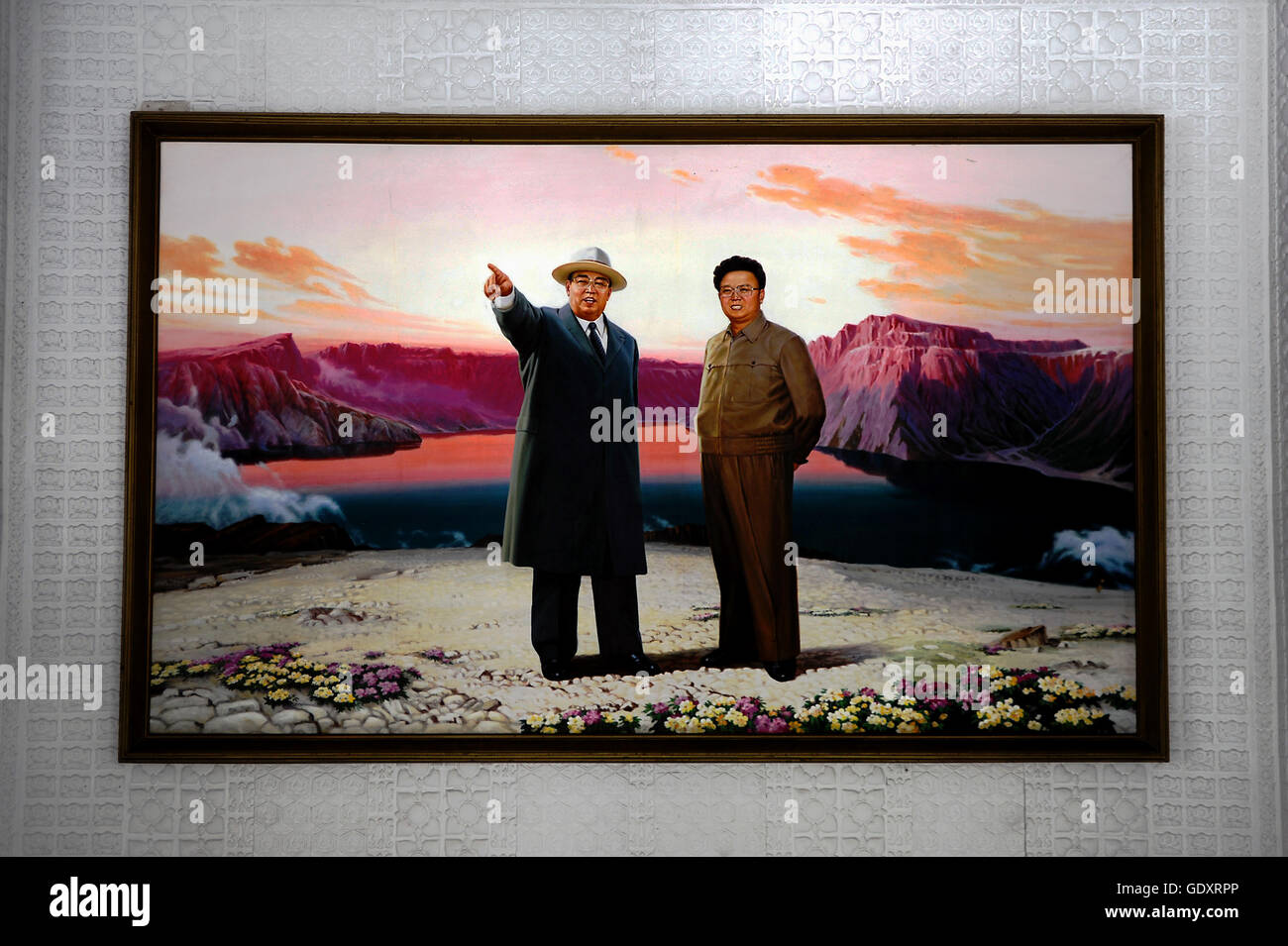 NORTH KOREA. Sinpyong. 2012. Painting of Kim Il Sung and Kim Jong Il - Stock Image