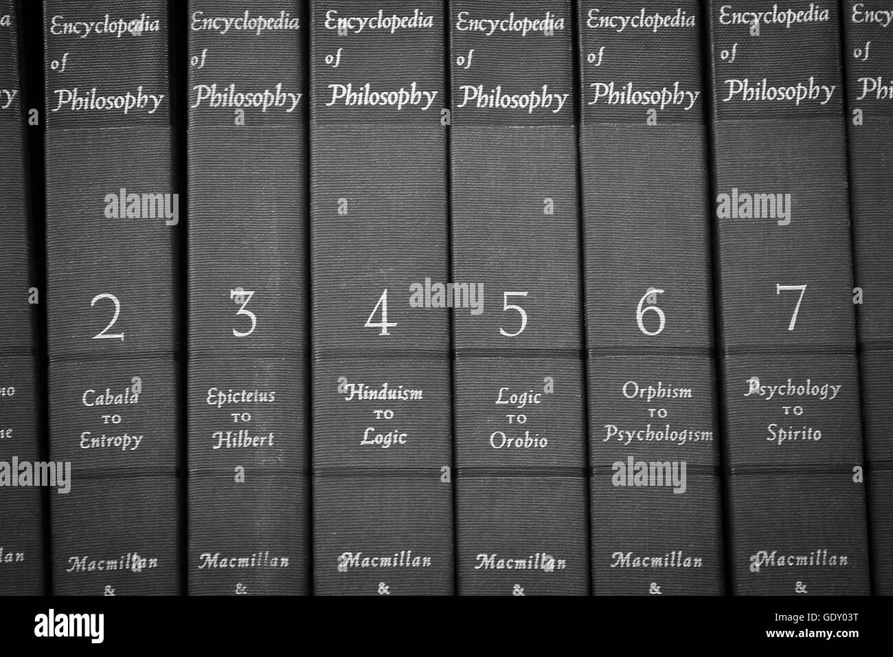 Set Of Books Encyclopaedia Philosophy Editorial Black And White