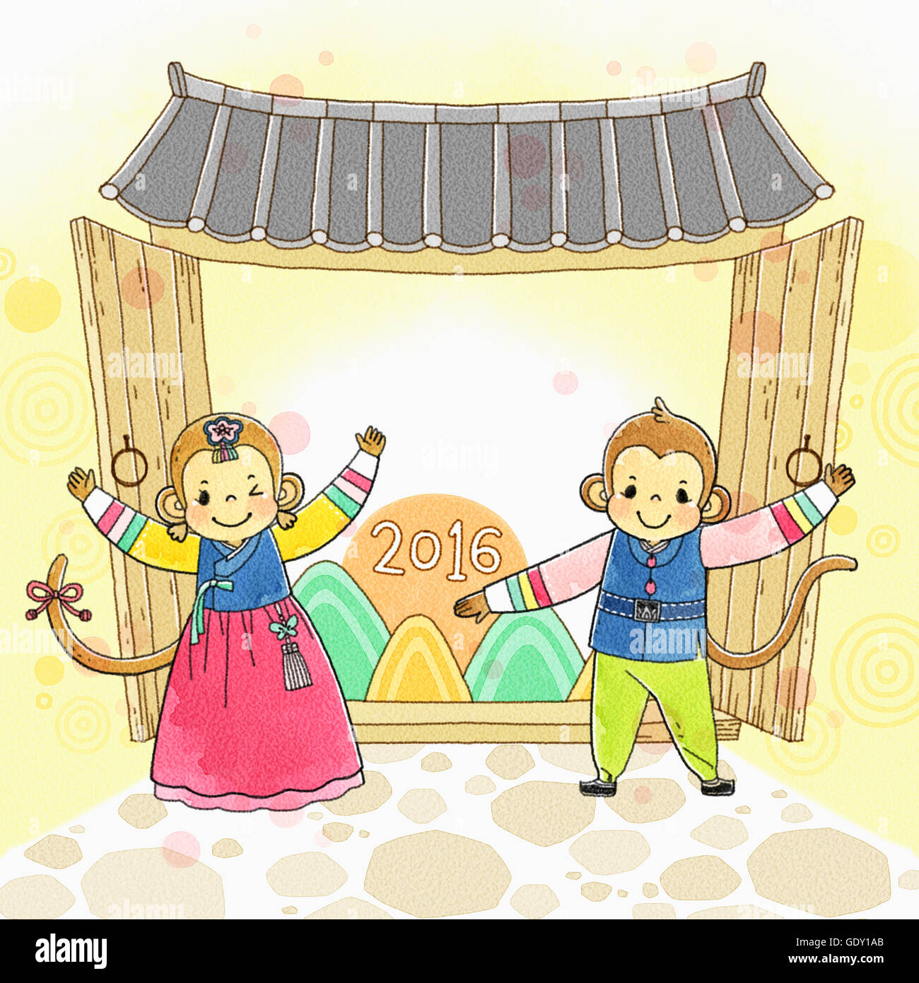 background of new year 201i6 with monkeys in traditional korean clothes smiling
