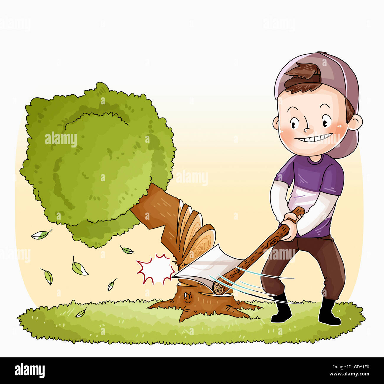 Smiling Man Cutting Down A Tree With An Ax Stock Photo Alamy If you cut down a tree you should plant another one and most people don't replant trees. https www alamy com stock photo smiling man cutting down a tree with an ax 111846616 html