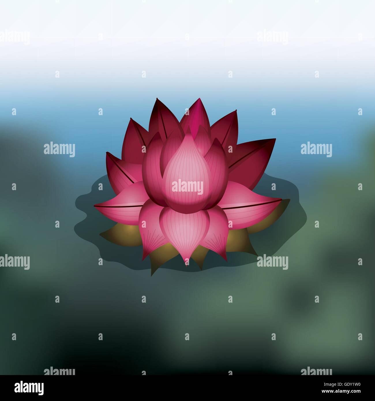 Lotus Flower Over Blur Background Isolated Icon Design Stock Vector