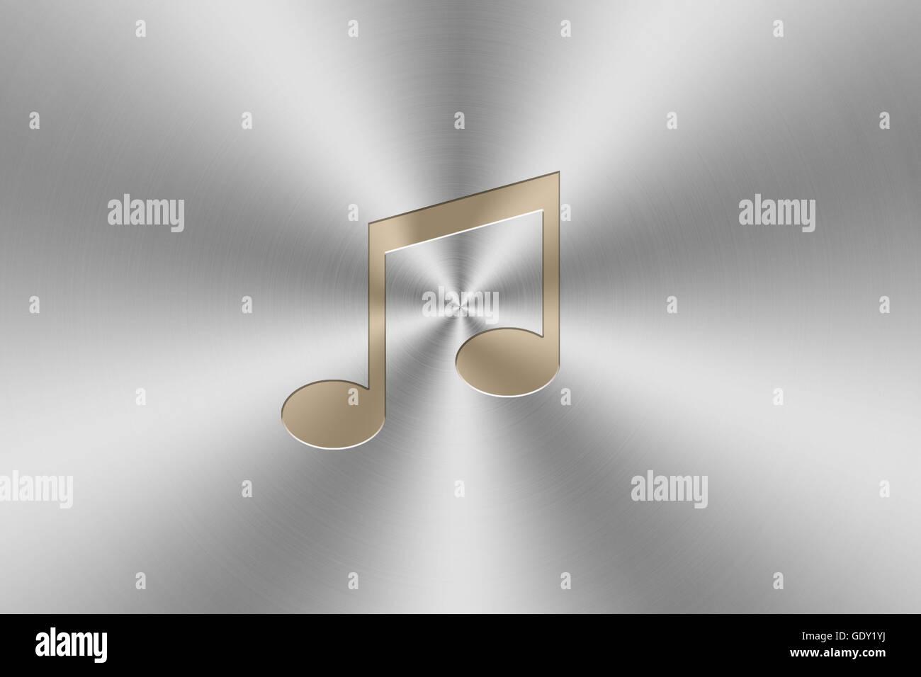 golden note 5 icon inlay on chrome aluminum texture. Stock Photo