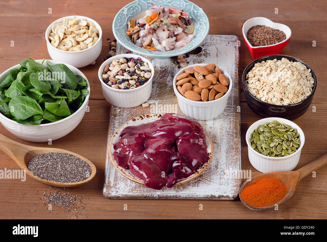 Manganese rich foods. Healthy eating - Stock Image