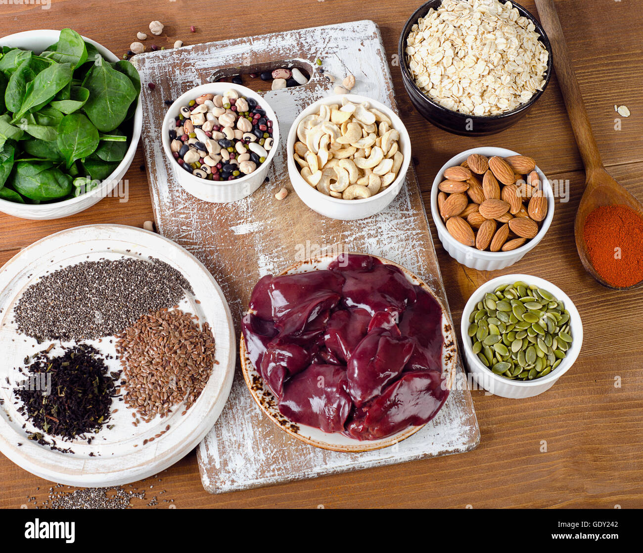 Foods high in Manganese. Healthy diet eating. Top view - Stock Image