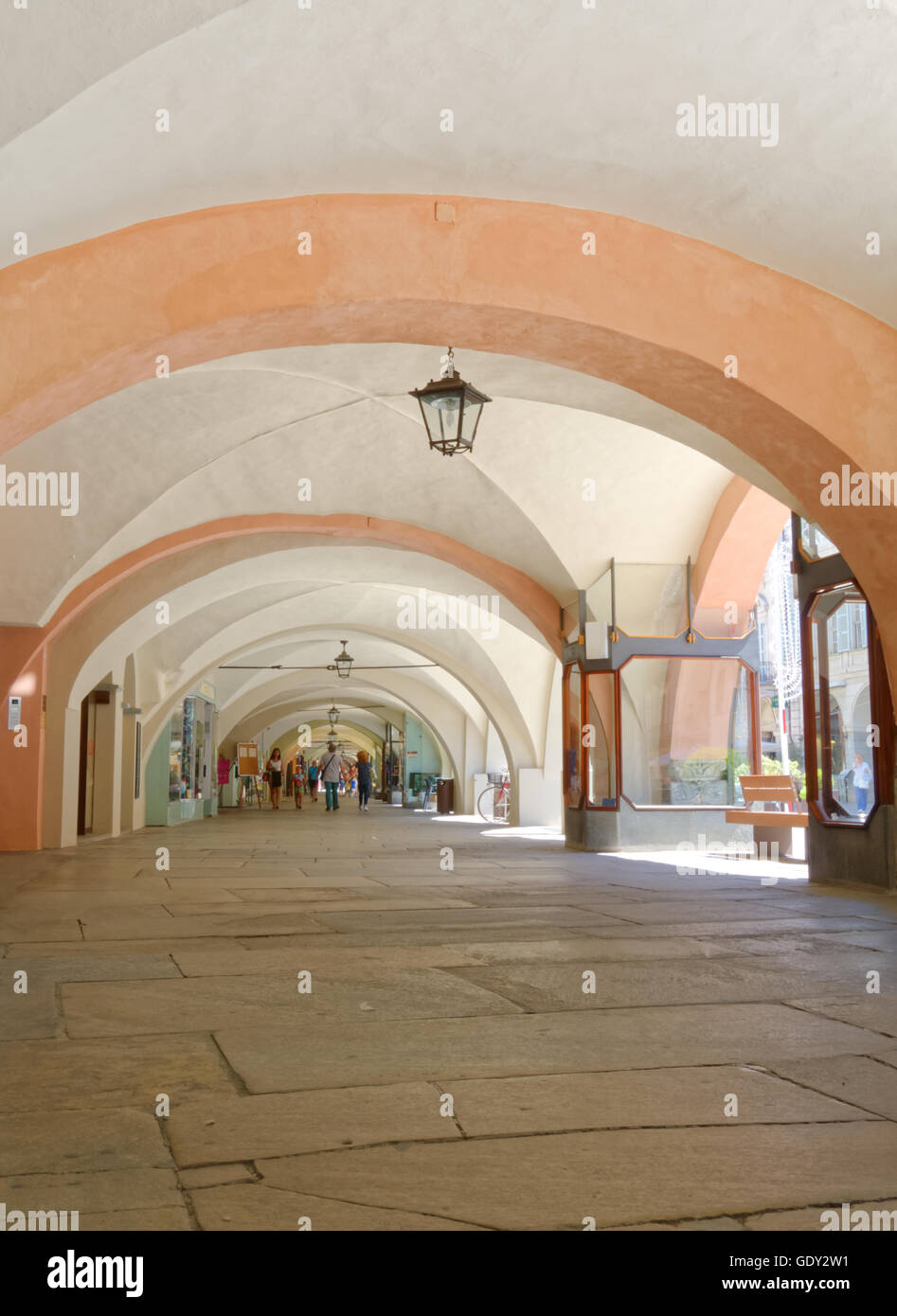 Arcades - Via Roma - Cuneo Stock Photo