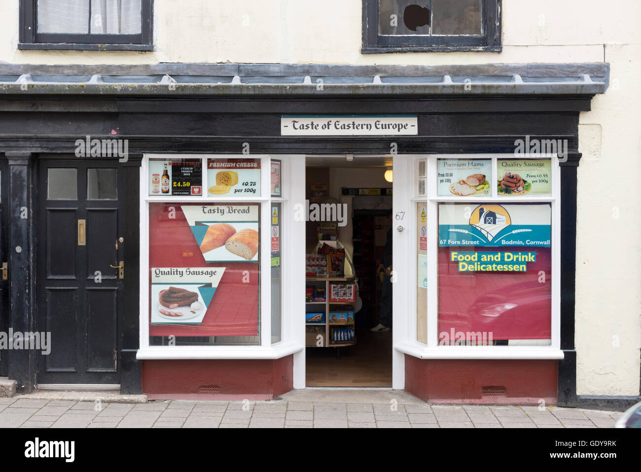 The Taste of Eastern Europe food shop or store in Bodmin Cornwall UK Stock Photo