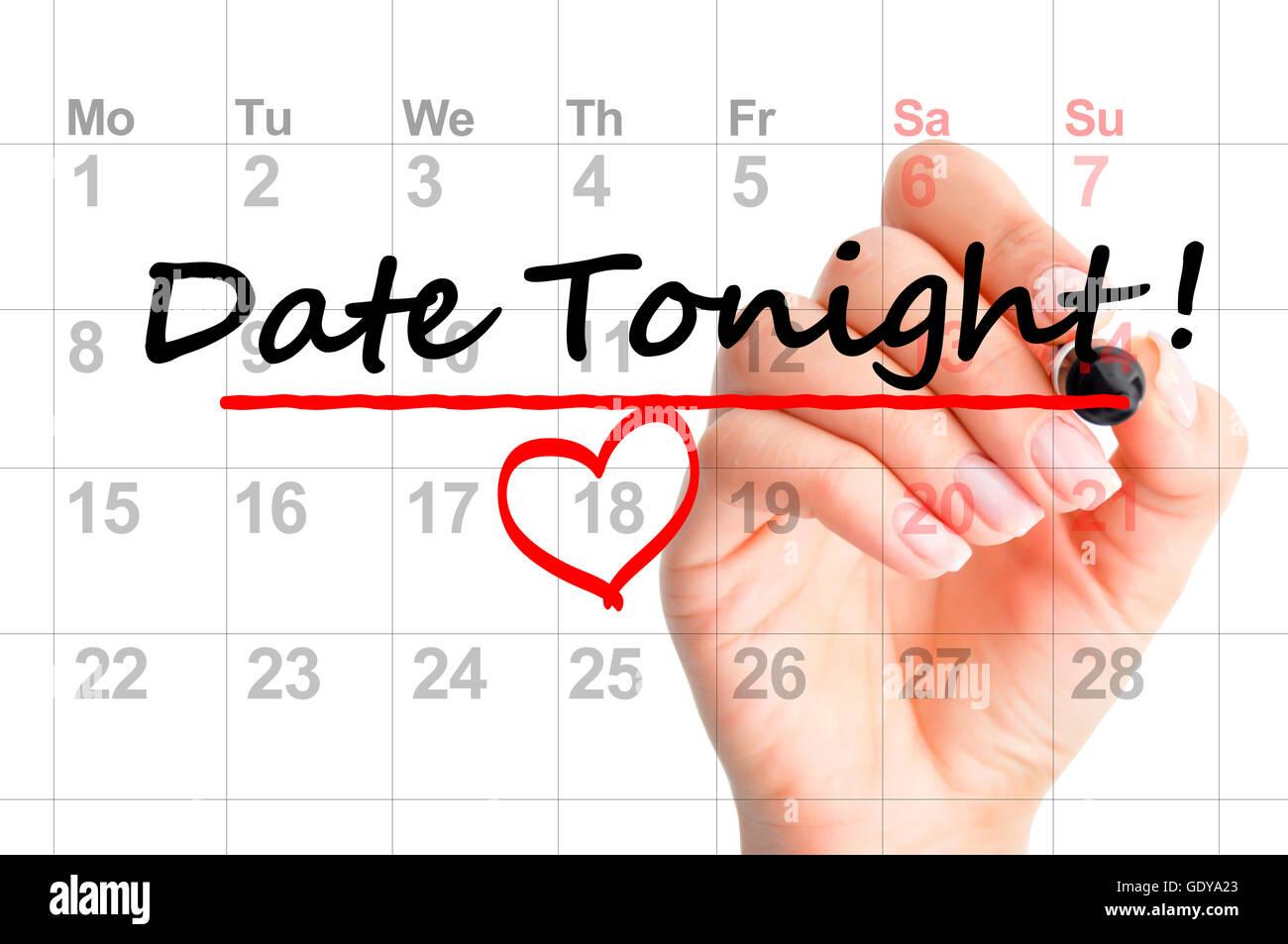 Date tonight marked on calendar - Stock Image