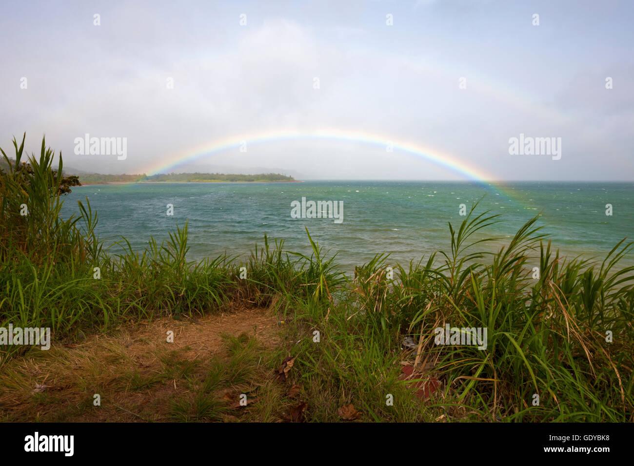 Rainbow over Lake Arenal, Alajuela Province, Costa Rica - Stock Image