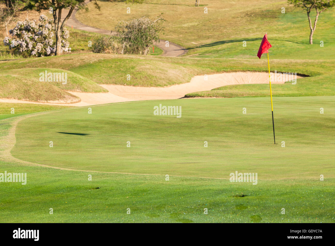 Golf green hole flag stick with sand trap landscape - Stock Image