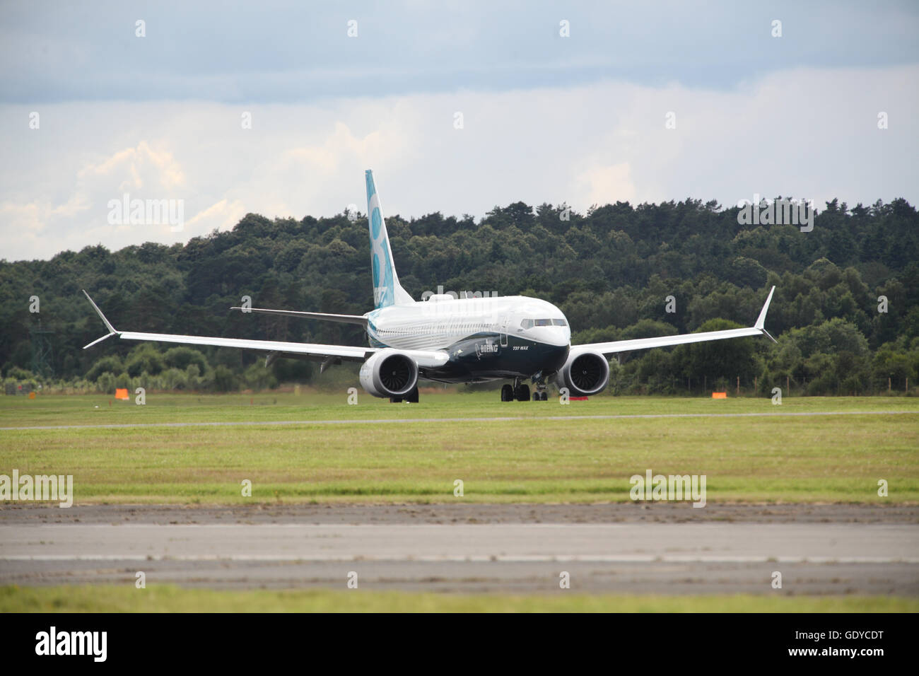 Boeing 737 Max at Farnborough Air Show 2016 - Stock Image