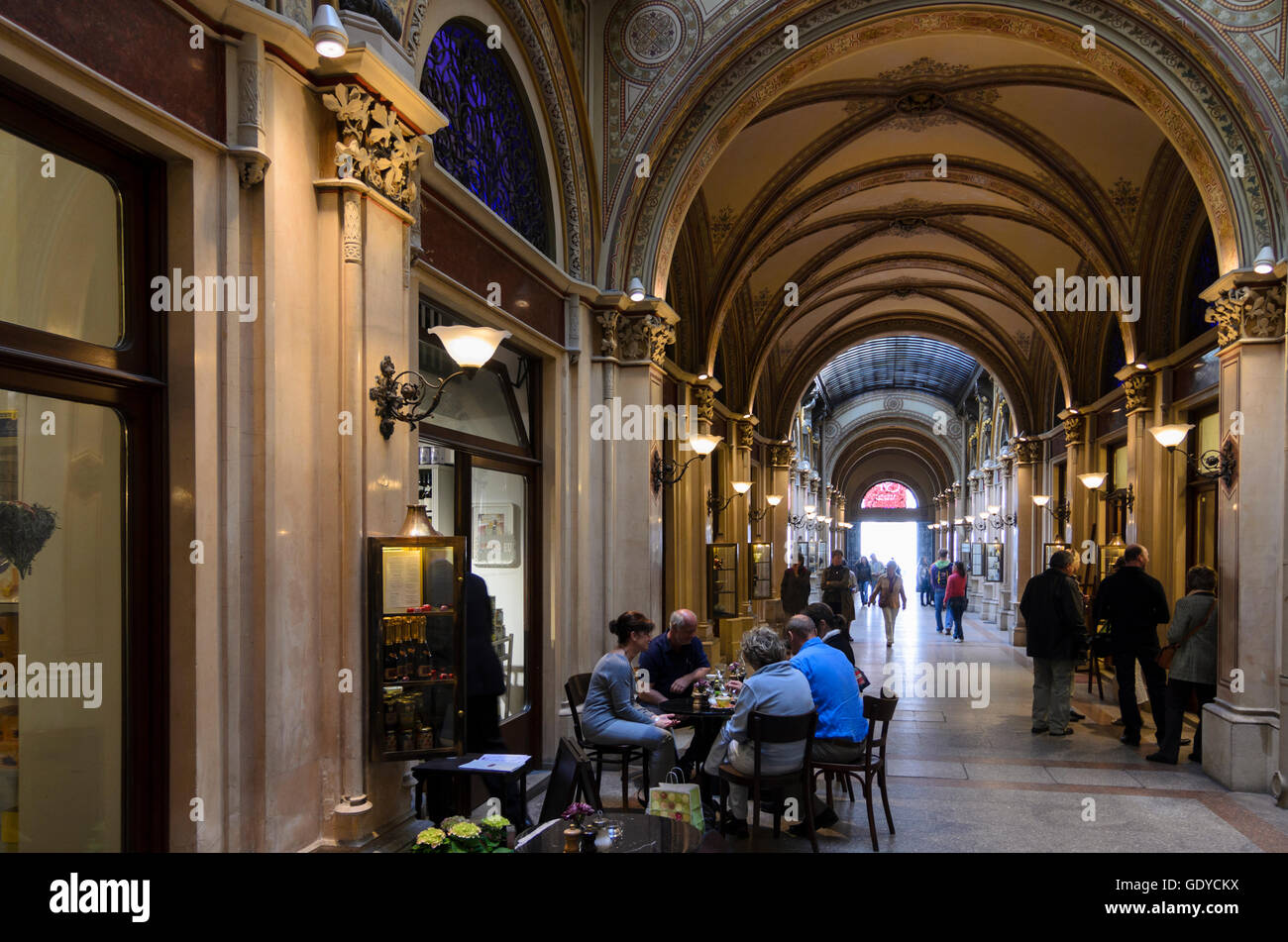 Wien, Vienna: Shopping arcade in the Palais Ferstel between Herrengasse and Freyung, Austria, Wien, 01. - Stock Image