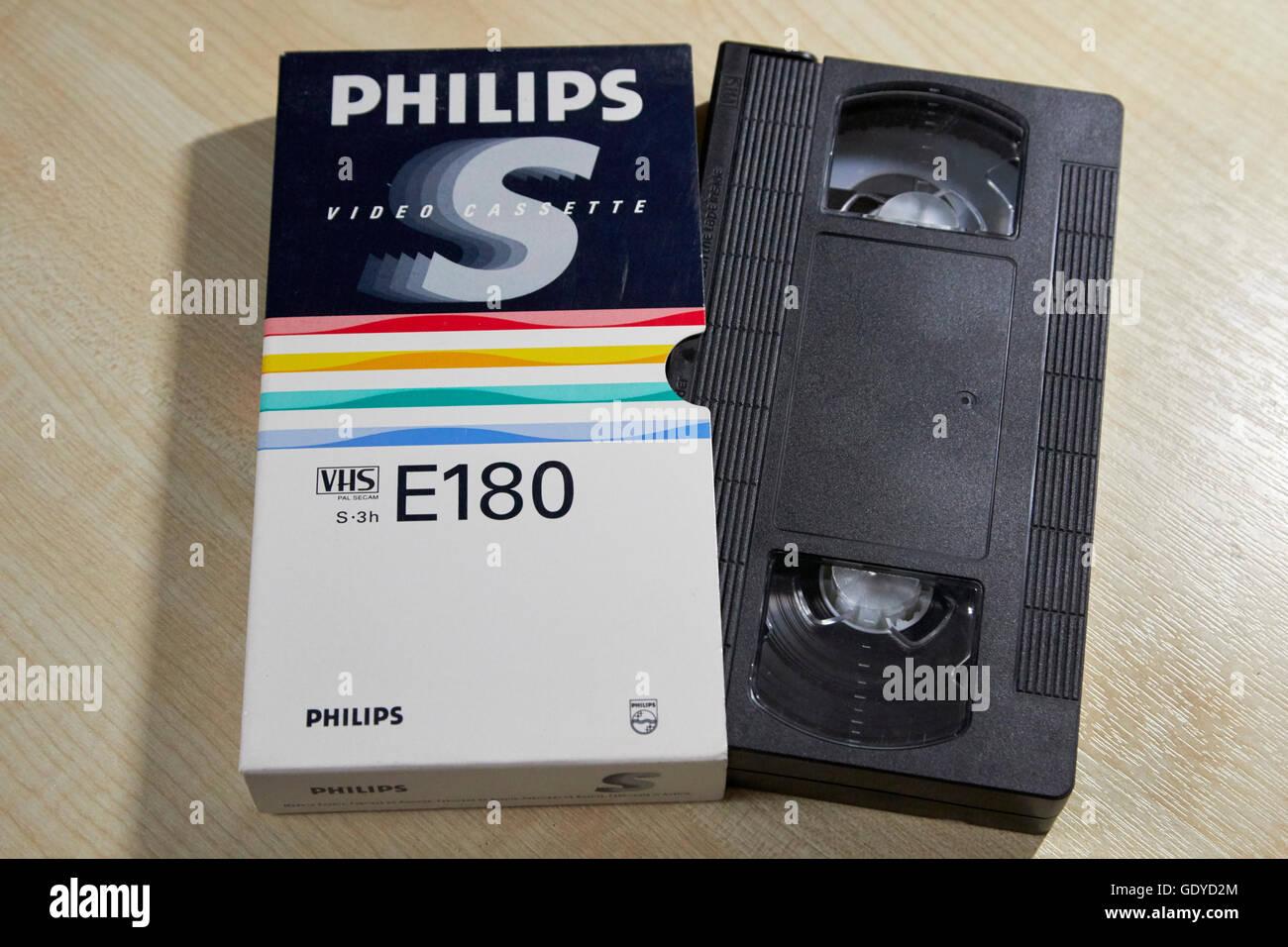 philips e180 video VHS blank cassette tapes - Stock Image