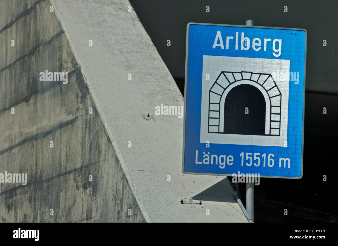 Sign at Entrance to the Arlberg Road Tunnel, Austria - Stock Image