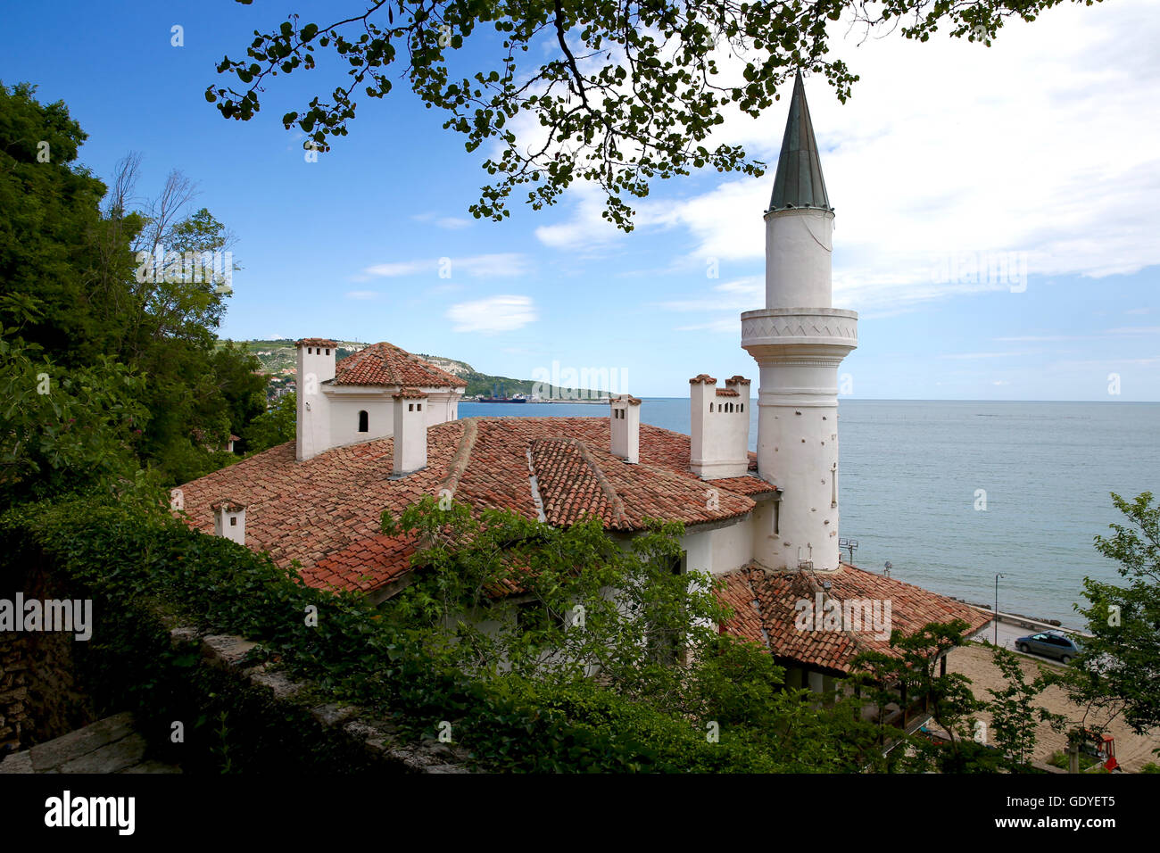 Cottage by the Sea. Royal Residence. Beautiful castle, palace. Romanian Queen Maria Residence.  Balchik Palace was - Stock Image