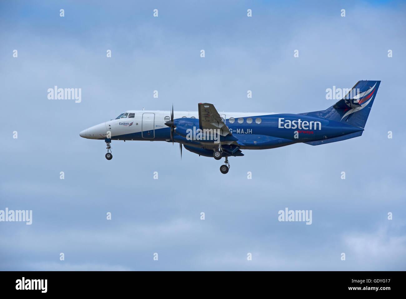 Eastern Airways British Aerospace Jetstream 41-MAJH arriving at RAF Lossiemouth, Moray. Scotland. UK.  SCO 10,768. - Stock Image