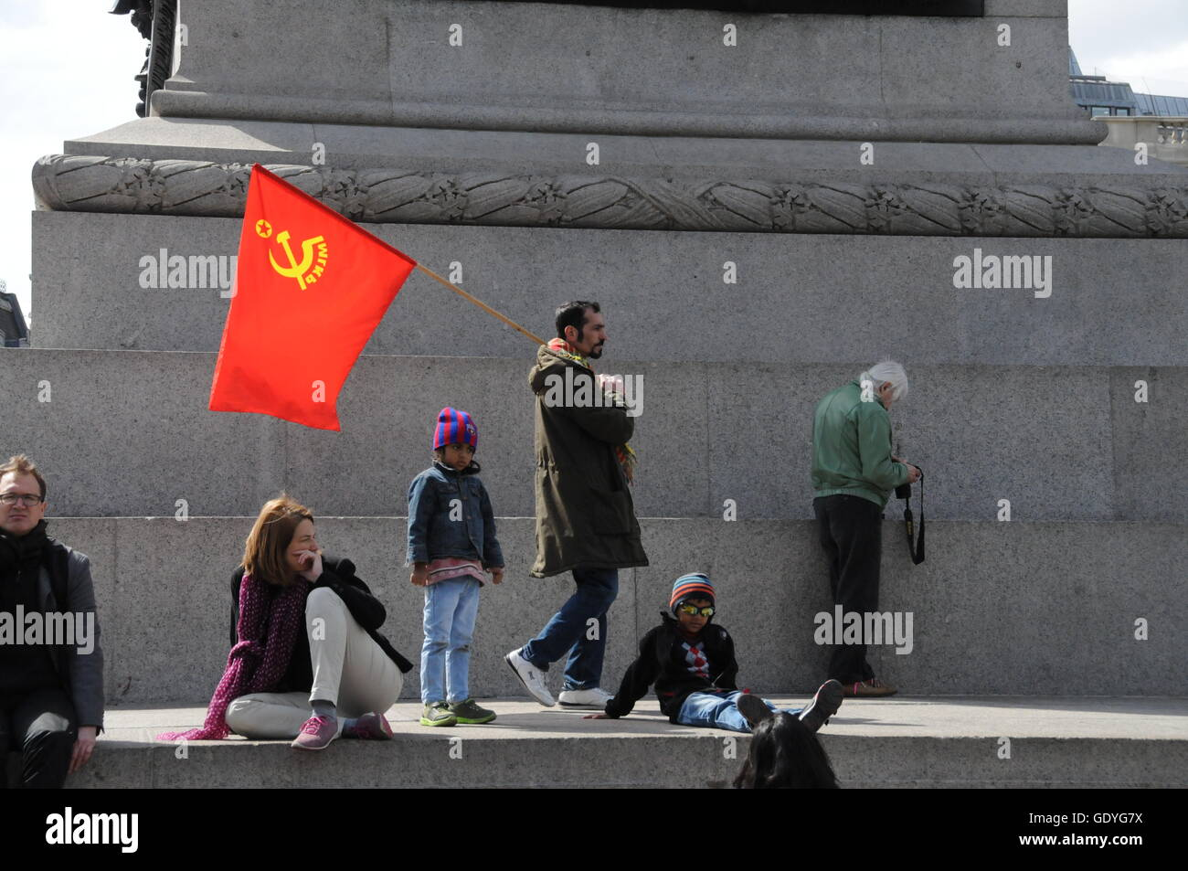 International Workers' Day in London's Trafalgar Square. - Stock Image