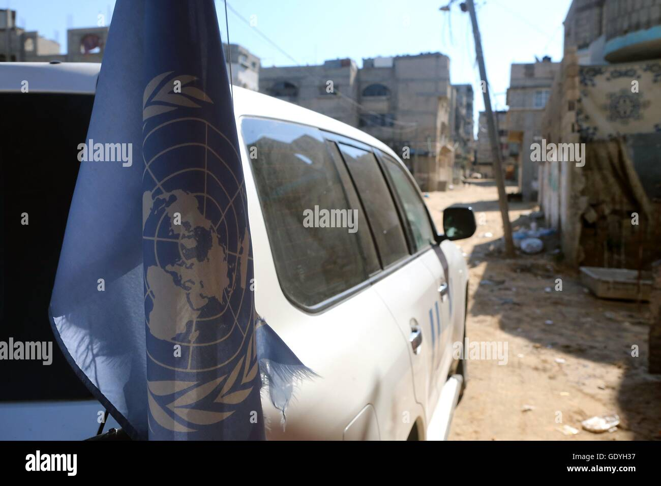 UN vehicle in Gaza City. Street scene in Gaza City. The Gaza Strip is a coastal region on the eastern Mediterranean - Stock Image