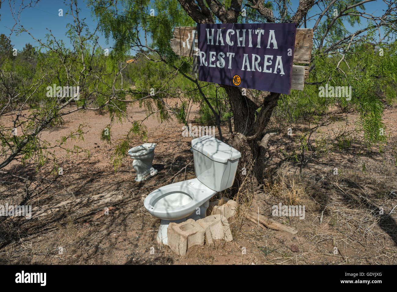 Flush toilet outside in ghost town of Hachita at Yucca Plains, Chihuahuan Desert, New Mexico, USA - Stock Image