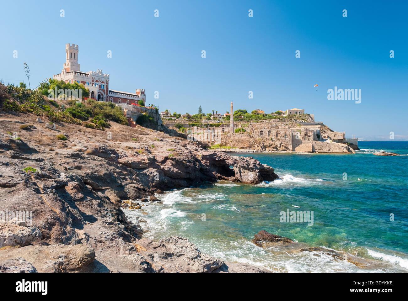 Coastline of Portopalo, in southern Sicily - Stock Image