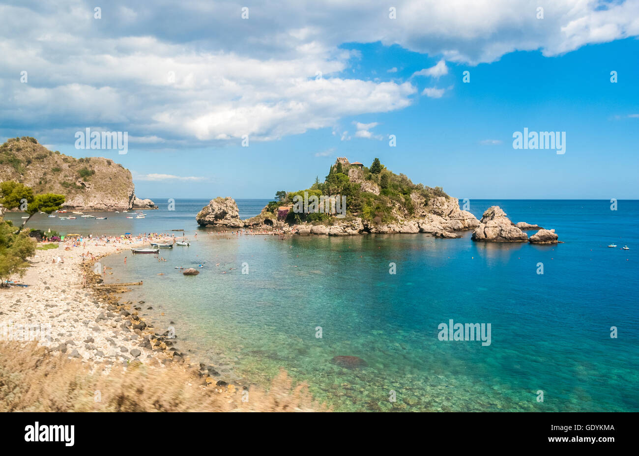 Isola Bella, in Taormina (Sicily), during the summer - Stock Image