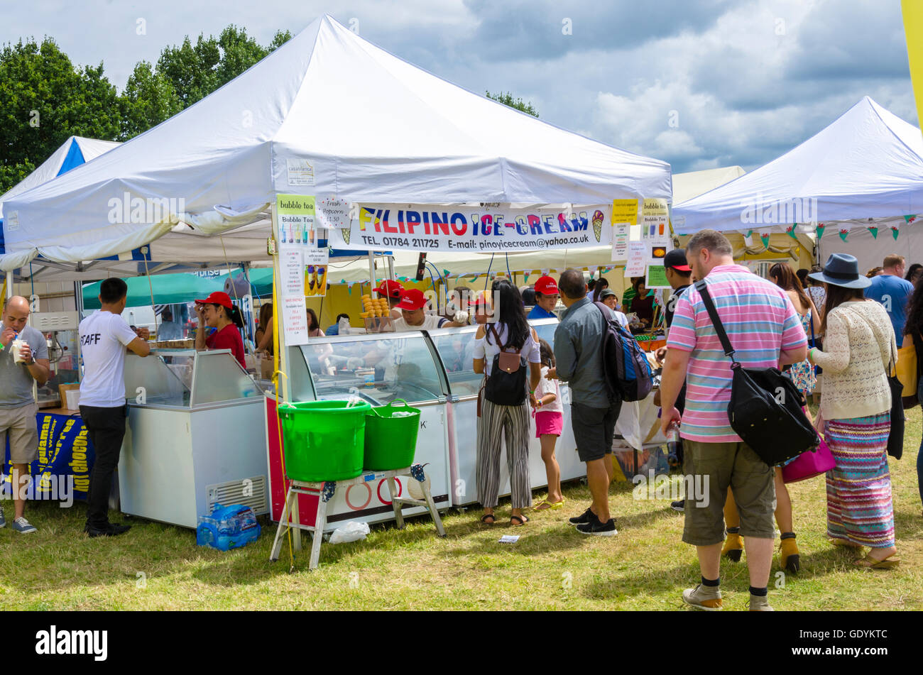A stall sells Filipino ice cream at the Barrio Fiesta 2016 in London. - Stock Image