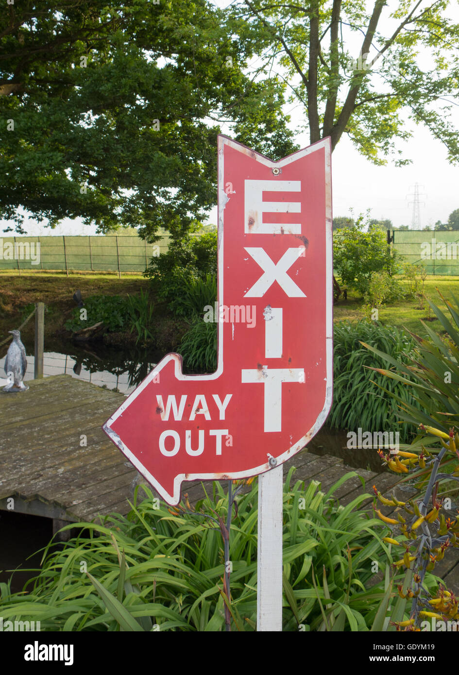 'Exit' and 'Way Out' Sign in a Rural Location in Maldon,Essex,England,UK - Stock Image